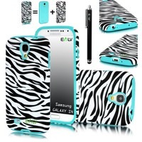 E LV Zebra Design 2 in 1 Hard and Soft Hybrid Armor Combo Case for Samsung Galaxy S4 S IV i9500 - Turquoise