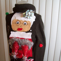 Extra small (xs) Ugly Christmas Sweater Women  Naughty Ho  Mrs Claus Funny Naughty Fun.NEVER BEFORE SEEN