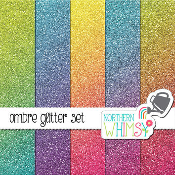 Ombre Glitter Digital Paper Pack – glitter backgrounds in ombre colors for digital scrapbooking – glitter texture - commercial use