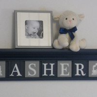 "Train Shelves, Personalized Nursery Decor 30"" Navy Shelf - 7 Wooden Wall Letters Navy Blue and Grey - ASHER / TRAINS"