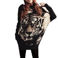 Tiger Head Print Scoop Neck Tunic Shirt Beige Black XS for Lady