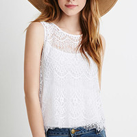 Eyelash Lace-Paneled Top