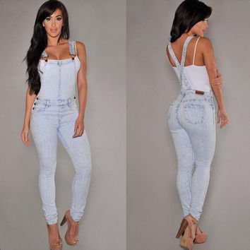Denim Casual Sleeveless Romper