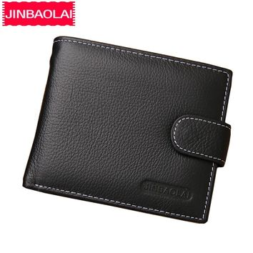 JINBAOLAI Leather Men Wallets Solid Sample Style Zipper Purse Man Card Horder Leather Famous Brand High Quality Male Wallet