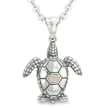 """Amulet Sea Turtle Cute Pink Cat's Eye Crystal Lucky Charm Pendant on 22"""" Necklace"""