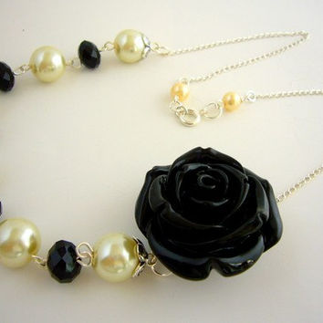Black Flower Necklace, Ivory Pearl and Black Swarovski Crystal Necklace, Spring Summer, Bridesmaids, Maid of Honor, Bridal, Floral Jewelry.