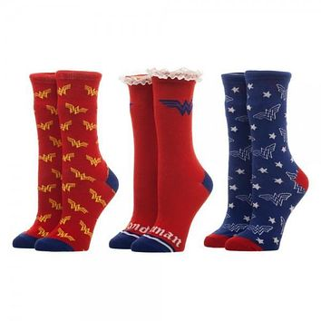 Wonder Woman 3 Pack Crew Set Socks For Men