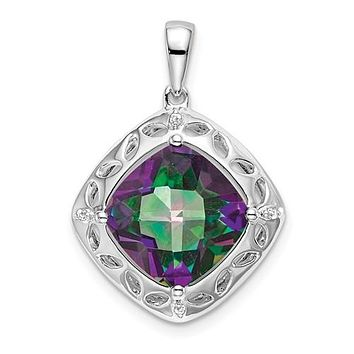 Sterling Silver Mystic Fire Topaz And Diamond Pendant