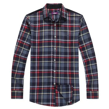 Casual Long Sleeve Flannel Plaid Cotton Shirt