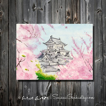 Himeji Castle, Art Watercolor Painting print by Suisai Genki, Giclee Print , 8x10, cherry blossom, Japanese Castle, Pink, Grey, Pinky, Gree
