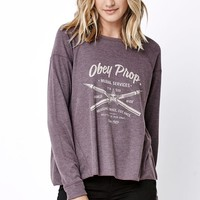 Obey Mural Cassandra Long Sleeve T-Shirt - Womens Tee - Blue