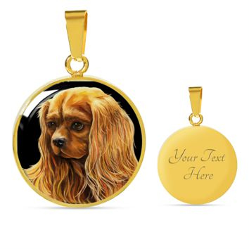 Ruby Cavalier King Charles Spaniel Oval Pendant Necklace & Bangle