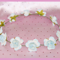 Baby Blue and Cream Simple Flower Crown