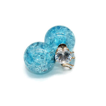 Double Sided Cubic Zirconia And Blue Crackled Glass Earrings