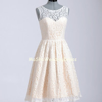 Short Pale Pink Lace Bridesmaid Dress Knee Length Straps Custom Ivory Lace Reception /Prom/ Party / Formal/Homecoming/evening Dress 2014