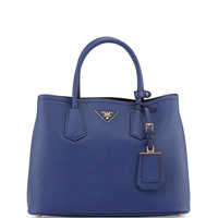 Saffiano Cuir Small Double Bag, Blue (Inchiostro)