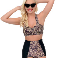 Sugar Doll Vintage Style Pin Up Brown & Black Leopard Meow High Waist Swim Bottom