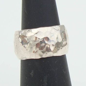 Israel Wide Hammered Sterling Silver Ring Size 5 Signed Jewelry