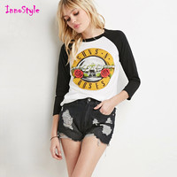 Guns n roses printed long sleeve t shirts for womens fashion graphic t shirts for ladies casual t shirts plus size womens tops