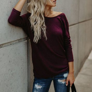 Open Shoulder Backless Sweater