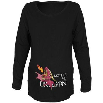 VONEG5F Mother of a Dragon Cute Pink Fire Maternity Soft Long Sleeve T Shirt
