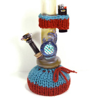Knit Waterpipe and Lighter Cozy Set, Bong Bootie and Lighter Holder