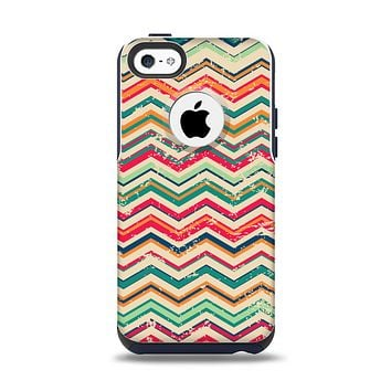The Tan and Colored Chevron Pattern V55 Apple iPhone 5c Otterbox Commuter Case Skin Set