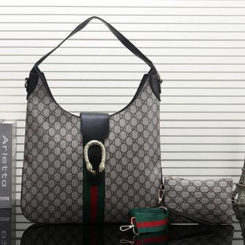Gucci New Women Fashion Leather Satchel Shoulder Bag Handbag Two Piece Set