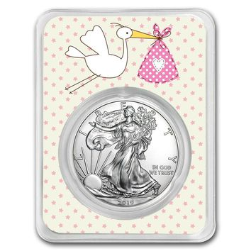 2019 1 oz Silver American Eagle - It's a Girl (Stork Delivery)