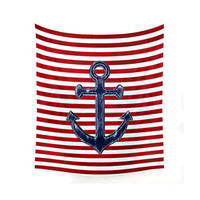 Wall Tapestry, nautical decor, nautical wall art, anchor wall art, picnic blanket, beach blanket, sofa throw, red decor, wall hanging