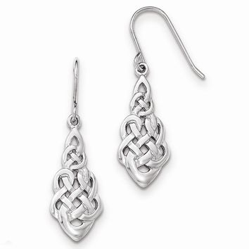 Sterling Silver Polished Celtic Knot Dangle Shepherd Hook Earrings