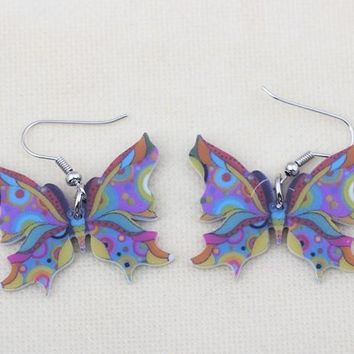 Cute Acrylic Drop Butterfly Earrings Long Big Dangle Earrings Fashion Jewelry News For Women Girl Gift Accessorries