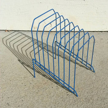 Record Album Rack Holder Blue Wire Lp Storage Vintage Home Decor Garage Band Music Player Studio Man Cave item Gift for Him Modern Desk