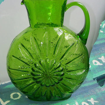 Vintage Eames Era Blenko Green Sunflower Glass Pitcher