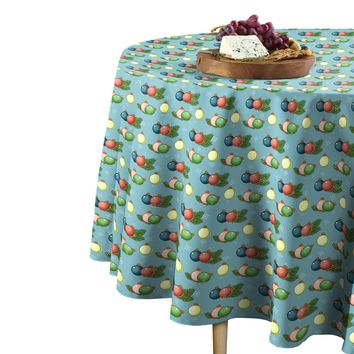 """Mint Angel Green Christmas Bubble Ornaments Tablecloth 60"""" Round"""