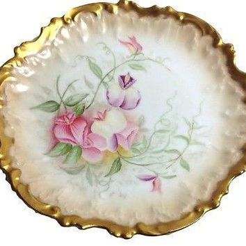 Limoges French Porcelain Plate Heavy Gold Sweet Peas Coiffe