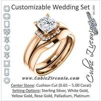 CZ Wedding Set, featuring The Jennifer Elena engagement ring (Customizable Cushion Cut featuring Saddle-shaped Under Halo)