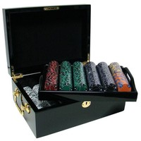500 Ace King Suited 14 Gram Poker Chips Set with Black Mahogany Case