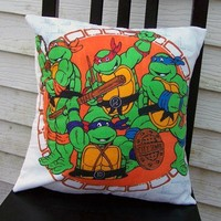 TEENAGE MUTANT NINJA TURTLES Vintage Fabric Pillow Case Orange