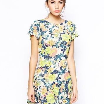 Love Skater Dress in Green Floral -