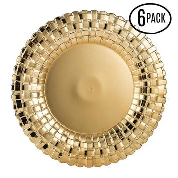 Set of 6 Shiny Gold Metallic Charger Plates