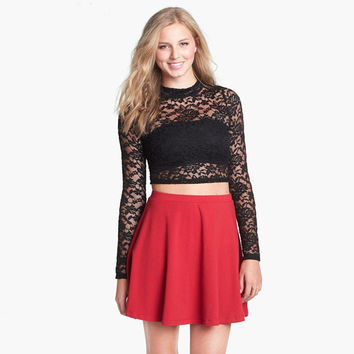 Black Lace And Mesh Long-Sleeve Crop Tank