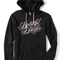 """Women's """"Scripty"""" Pullover Hoodie by Beautiful Disaster (Heather Black)"""