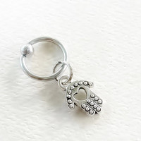 316L Surgical Steel tiny hamsa captive ring Helix, cartilage, tragus earring