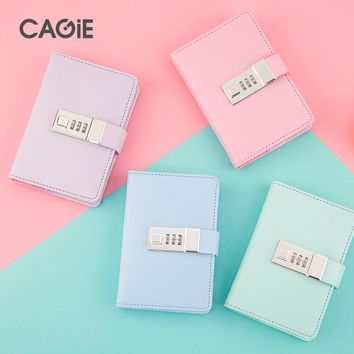 CAGIE 2017 New Arrive A7 Notebook Lock Diary Women Cute Leather Travelers Notebooks Kawaii Mini Planner Sketchbook Filofax