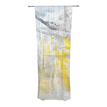 "CarolLynn Tice ""Abstraction"" Grey Yellow Decorative Sheer Curtains"