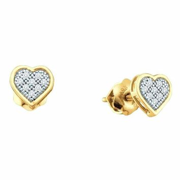 10kt Yellow Gold Women's Round Diamond Dainty Heart Cluster Screwback Earrings 1-20 Cttw - FREE Shipping (US/CAN)