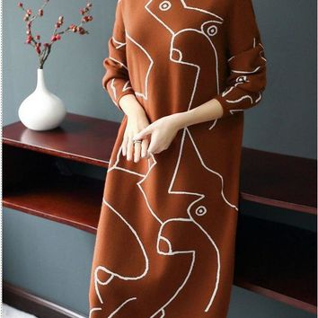 Trendy Print Sweater Dress