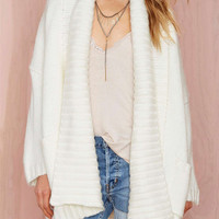 White Lapel Long Sleeve Cardigan with Pocket