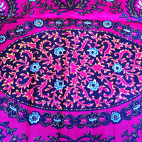 African Wax Print Fabric by the HALF YARD. Floral Medallion in pink, gold, turquoise, and black.